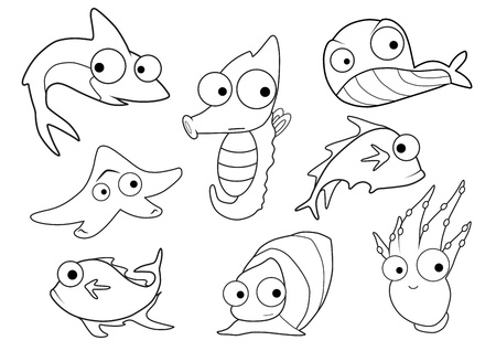 Collection of marine animals vector  Vector