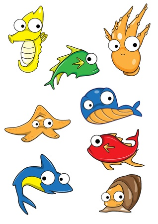 Collection of marine animals  Vector