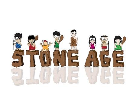 caveman: Stone age dibujos animados vector