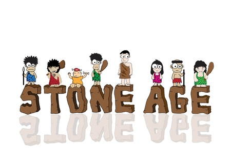 yaşları: Taş devri karikatür vektör Çizim