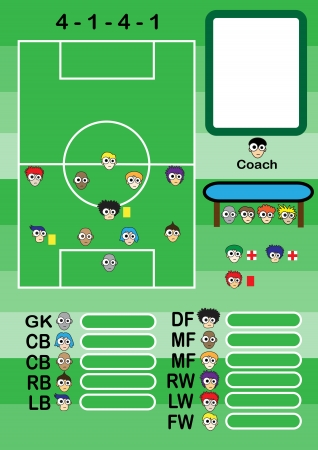 Soccer cartoon strategy Formation  Vector