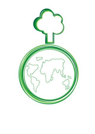 gaia: World and tree vector cartoon