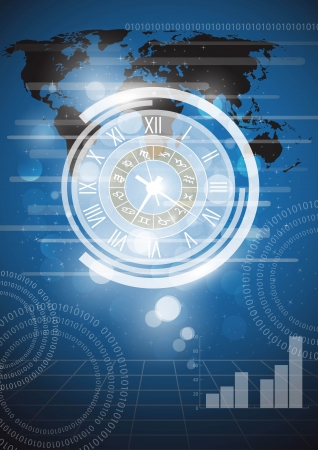 Abstract clock and technology background