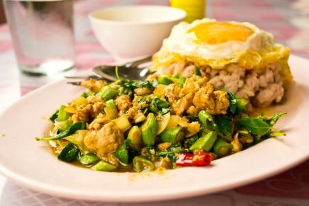 Stir fried basil, Thai food Stock Photo - 19310494