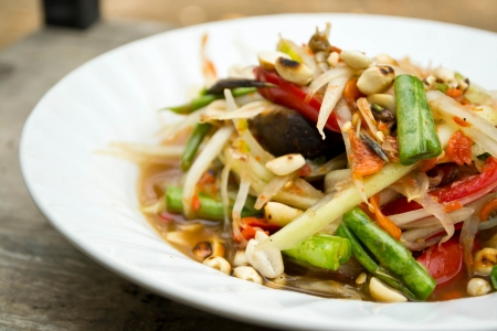 Green papaya salad, Thai food Stock Photo - 19310467