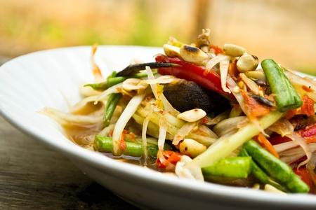 Green papaya salad, Thai food Stock Photo
