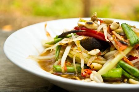 Green papaya salad, Thai food Stock Photo - 19310462
