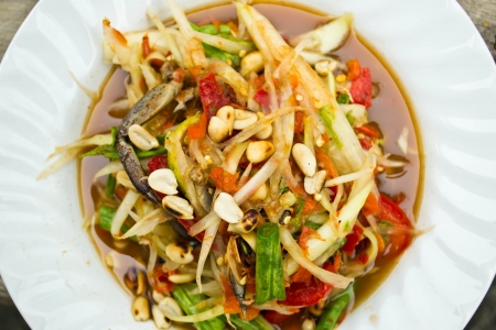 Green papaya salad, Thai food photo