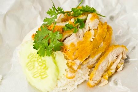 fry chicken rice of thailand photo