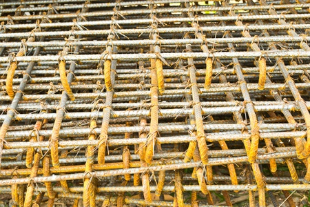 Rusty steel bars, steel bars for use in road construction photo
