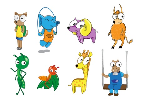 Set of animal cartoon paint by illustrator Vector