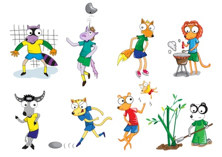Set of animal vector cartoon paint by illlustrator Vector
