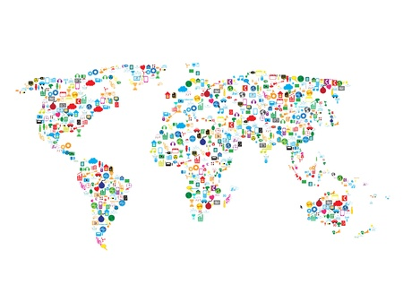Réseau social, la communication dans les réseaux mondiaux Banque d'images - 21658448