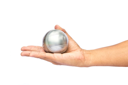 bocce ball: Man and petanque ball in hand on white background Stock Photo