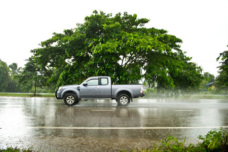 Car on wet roads Reklamní fotografie