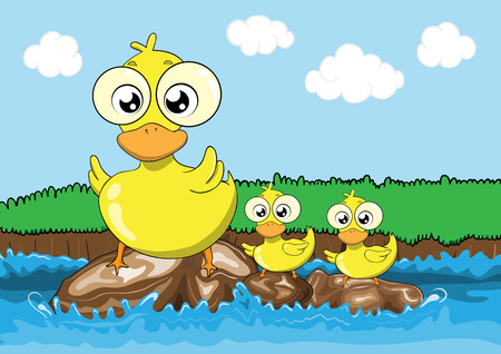 Mother duck and her ducklings cartoon Illustration