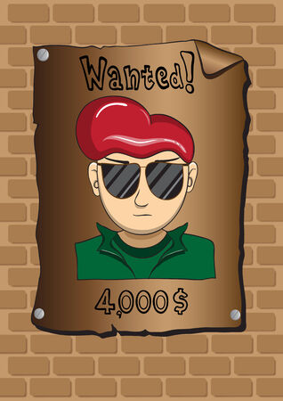 robbery: Posters of a wanted bandit Illustration