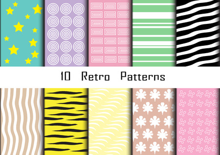 Retro patterns collection  for making wallpapers. Vector