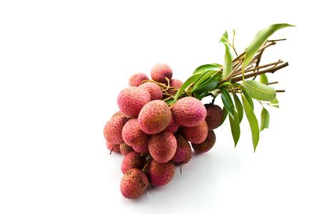 lichi: fresh lychees on white background