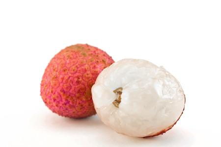 litschi: fresh lychees on white background