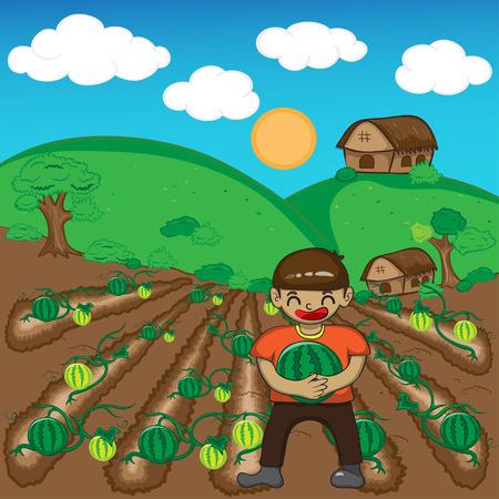Farmer and watermelon a harvest vector illustration cartoon Vector