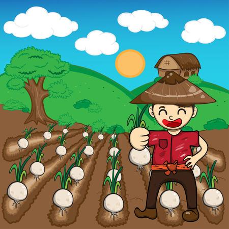 Farmer and onion plants a harvest vector cartoon Vector