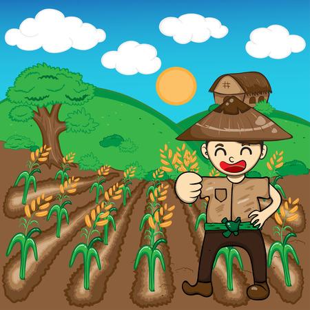 Farmer and rice a harvest vector illustration cartoon Vector