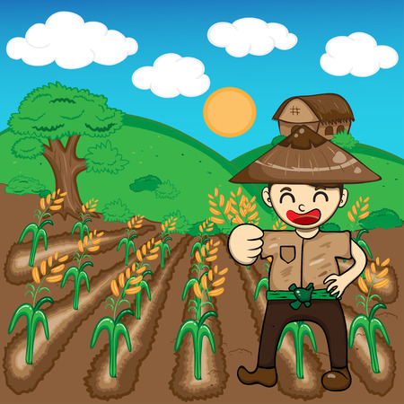 harvesting rice: Farmer and rice a harvest vector illustration cartoon