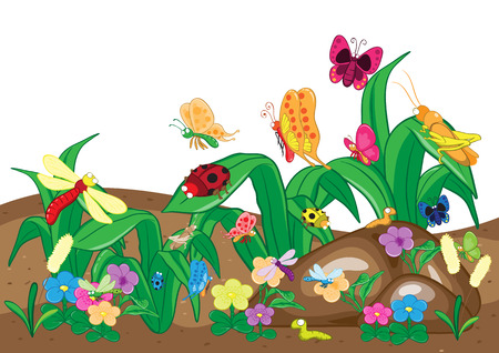 Insects family on the ground and tree. Insects cartoon and vector  Vector