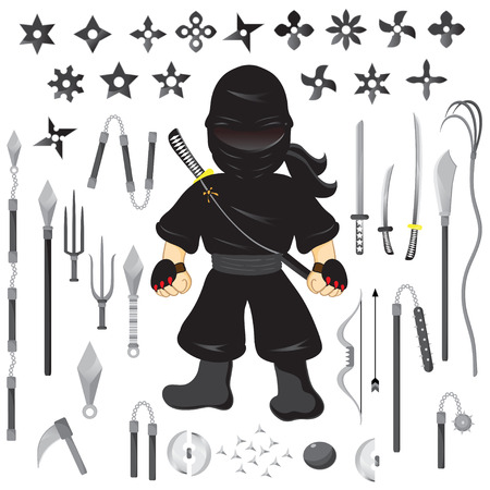 Illustration of character ninja and weapon, cartoon vector Vector
