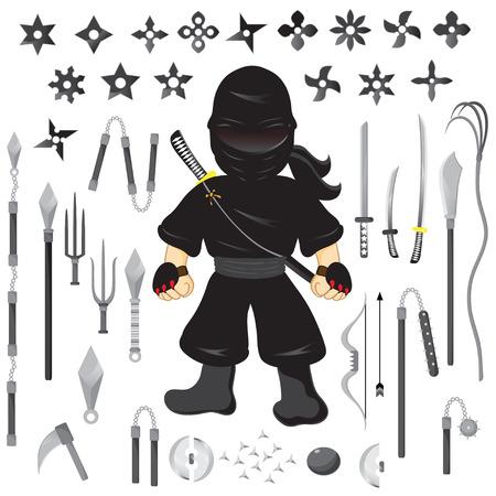 Illustration of character ninja and weapon, cartoon vector Vector