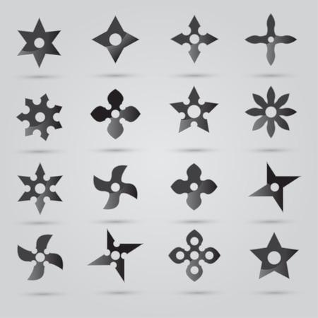 Illustration of ninja stars, ninja and weapon, cartoon vector Vector
