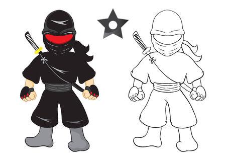 Illustration of ninja cartoon vector on white background Vector
