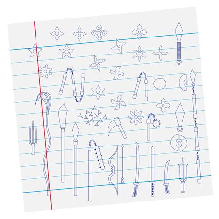 mortal: Illustration of ninja weapon on paper, cartoon vector