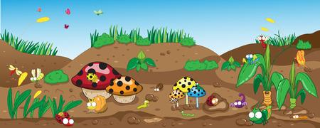 gusano caricatura: Los insectos en el suelo, entre las flores y las plantas, vector y la ilustración de dibujos animados - insecto EPS8 archivo sin degradados, sin efectos, sin malla, sin transparencias