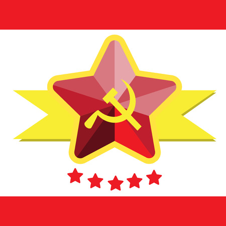 hammer and sickle: flag of hammer and sickle, vector illustration
