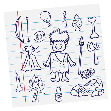 edad de piedra: Imagen del vector esquema de dibujos animados edad de piedra primitiva y el arma en el papel