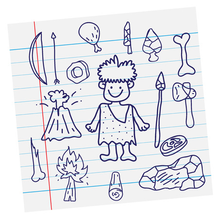 stone age: Vector outline image  Stone age cartoon primitive and weapon on paper Illustration