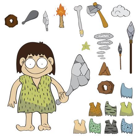 ���stone age���: Stone age people cartoon vector,