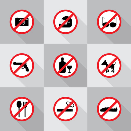 prohibition: Prohibition signs, set vector illustration