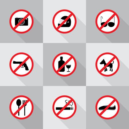 interdiction: Signes d'interdiction, �nonc�e illustration vectorielle