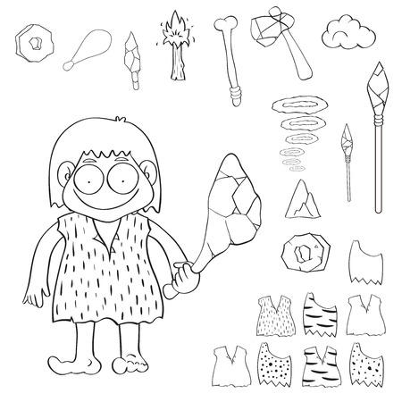 Stone age people cartoon vector, Vector