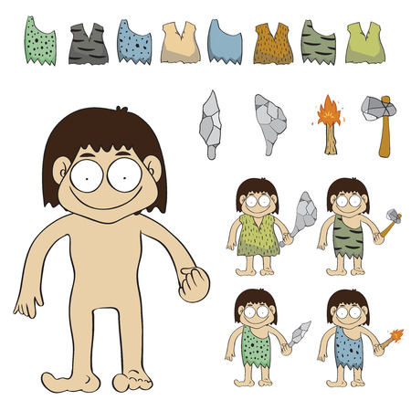 stone age: Stone age people cartoon vector,