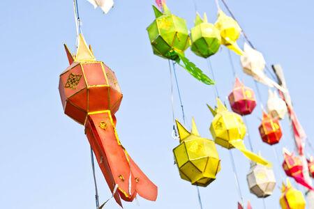 Lanterns paper on blue sky photo