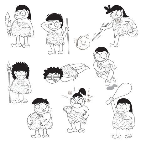 edad de piedra: Piedra personas de edad vector de la historieta Vectores