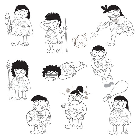stone age: Stone age people cartoon vector