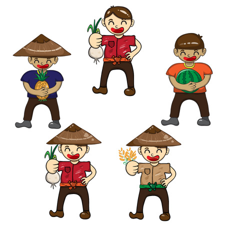Set cartoon character farmers with a crop of vegetables and fruit, Vector illustration Vector
