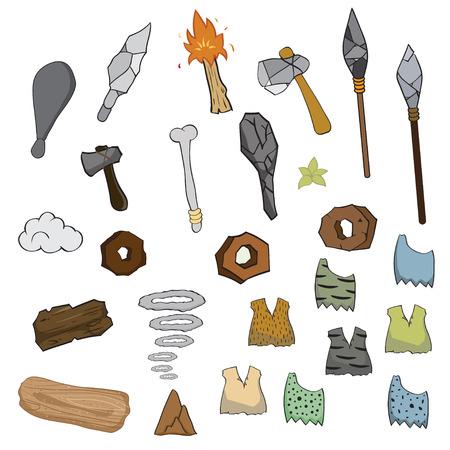 edad de piedra: Arma de la edad de piedra de la historieta, ilustraci�n vectorial
