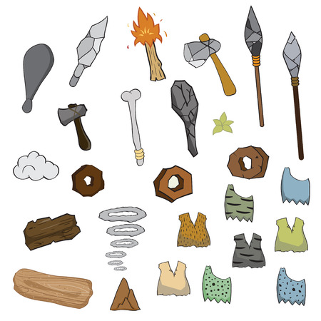 of age: Weapon of stone age cartoon,vector illustration