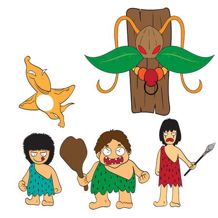 stone age: Stone age people cartoon vector illustration